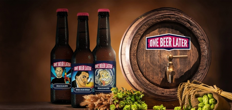 One beer marketing stage...later: a different way of promoting beer